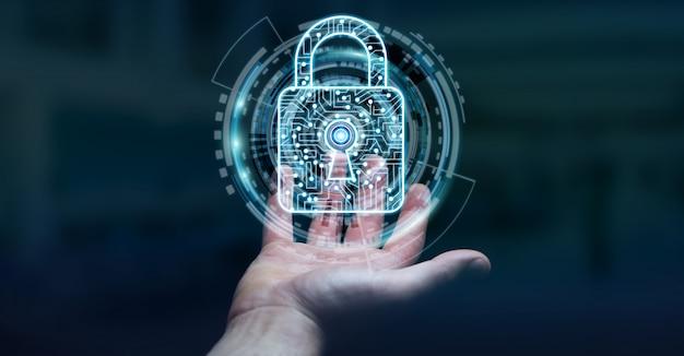 Homem negócios, usando, digital, padlock, para, seguro, seu, datas, 3d, fazendo