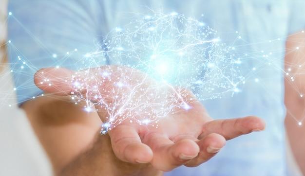 Homem negócios, usando, digital, raio x, cérebro humano, interface, 3d, fazendo