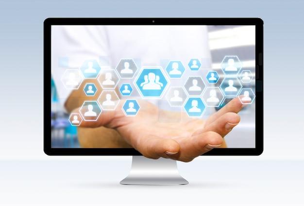 Homem negócios, usando, digital, social, rede, interface