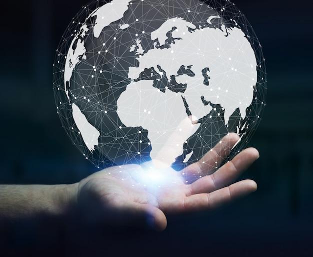 Homem negócios, usando, digital, táctil, mundo, interface, com, seu, dedo