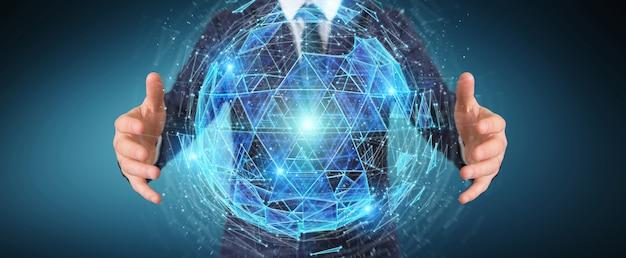 Homem negócios, usando, digital, triangulo, explodindo, esfera, holograma, 3d, fazendo