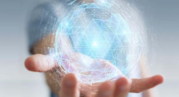 Homem negócios, usando, digital, triangulo, explodindo, esfera, holograma