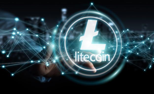 Homem negócios, usando, litecoins, cryptocurrency