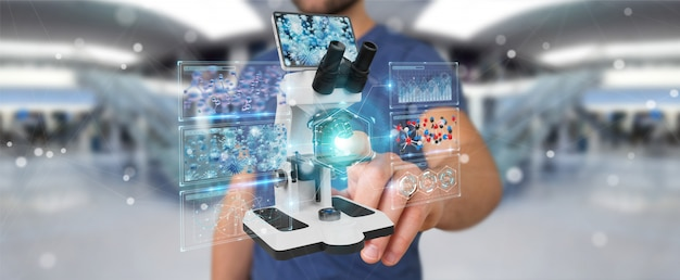 Homem negócios, usando, microscópio moderno, com, análise digital