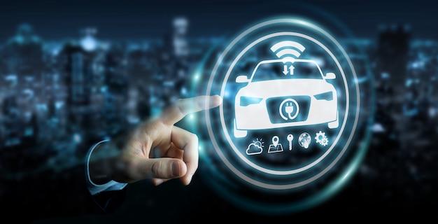 Homem negócios, usando, modernos, esperto, car, interface