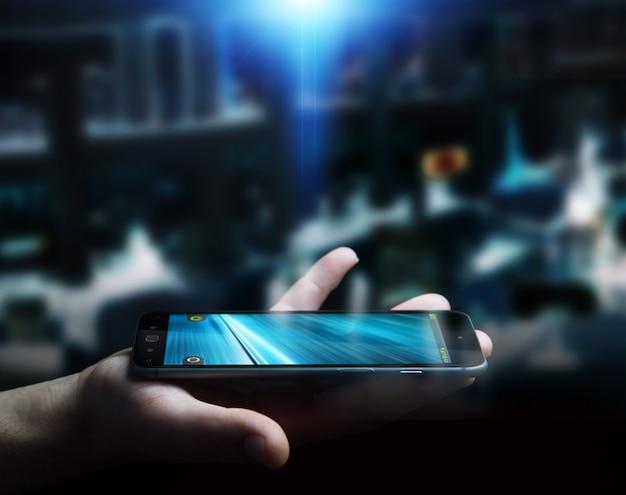 Homem negócios, usando, modernos, telefone móvel