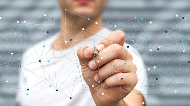 Homem negócios, usando, rede dados digitais, com, um, caneta