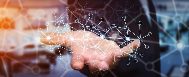 Homem negócios, usando, rede dados
