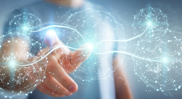 Homem negócios, usando, rede digital, conexão, esfera, 3d, fazendo