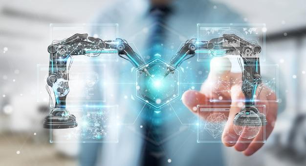 Homem negócios, usando, robótica, braços, com, digital, tela, 3d, fazendo