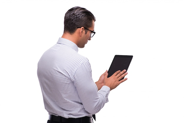 Homem negócios, usando, seu, tabuleta, computador, isolado, branco