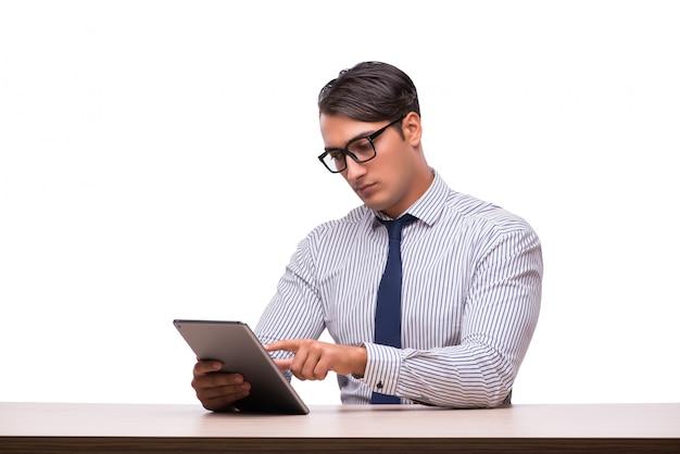 Homem negócios, usando, seu, tabuleta, computador, isolado