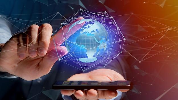 Homem negócios, usando, smartphone, com, um, conectado, rede, sobre, um, globo terra