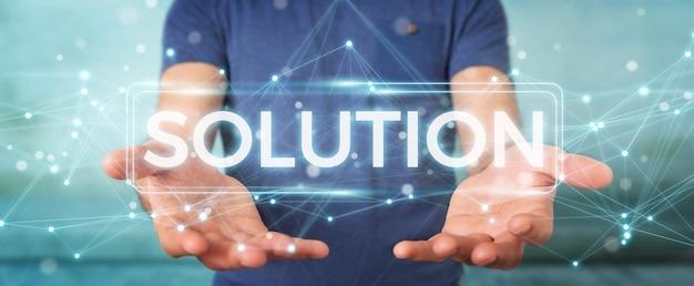 Homem negócios, usando, solução, texto digital, 3d, fazendo