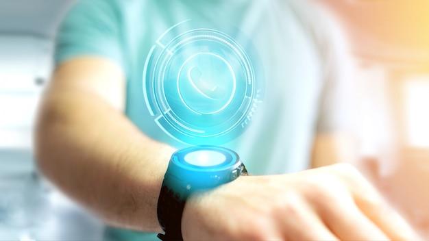Homem negócios, usando, um, shinny, tecnológico, telefone, botão, ligado, seu, smartphone, 3d, render
