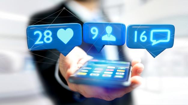 Homem negócios, usando, um, smartphone, com, um, semelhante
