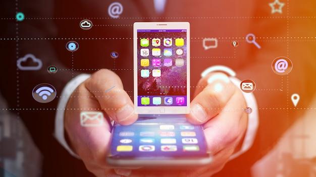 Homem negócios, usando, um, smartphone, com, um, tabuleta, cercar, por, app, e, social, ícone, -, 3d, render