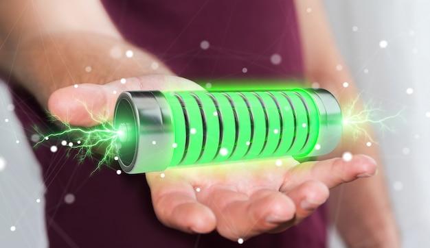 Homem negócios, usando, verde, bateria, com, relâmpagos, 3d, fazendo