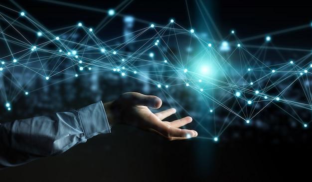 Homem negócios, usando, voando, rede, conexão, 3d, fazendo