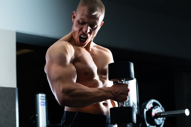 Homem no treinamento com halteres no ginásio