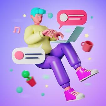 Homem ocasional novo dos desenhos animados da ilustração 3d que flutua e que usa o laptop do computador para trabalhar em casa ou em linha educação que aprende quando quarentena do surto de vírus covid-19.