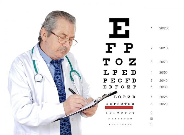 Homem oculista sênior, revendo a saúde ocular de um paciente