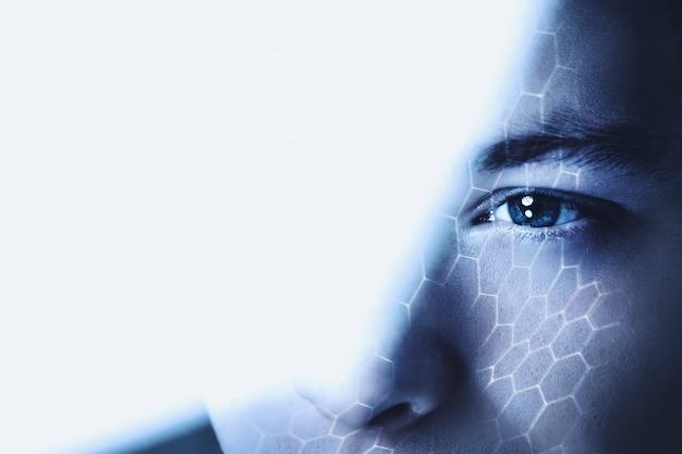 Homem olhando através do vidro, visão empresarial, tecnologia blockchain remix digital