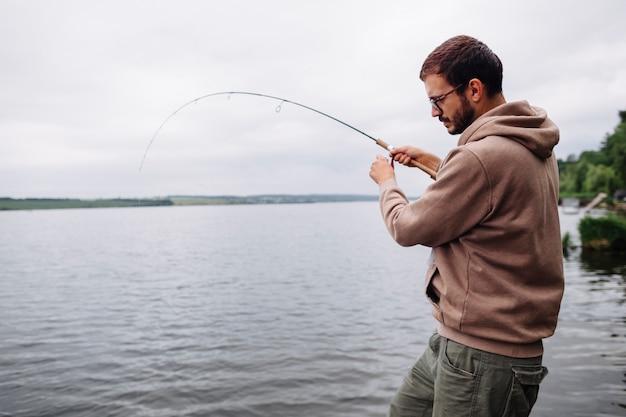 Homem, pesca, idyllic, lago