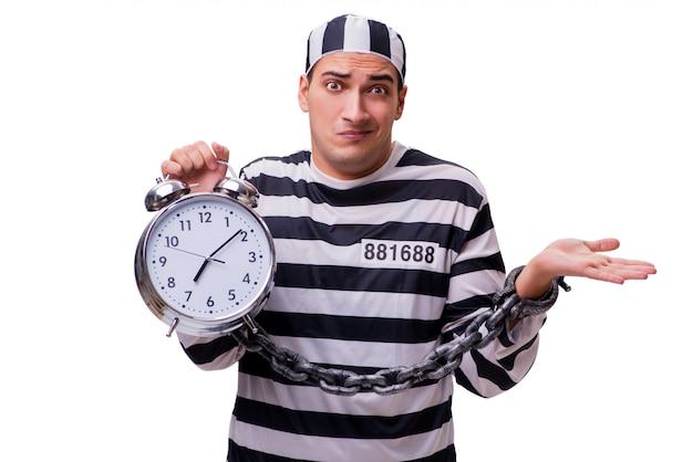 Homem, prisioneiro, com, relógio, isolado, branco