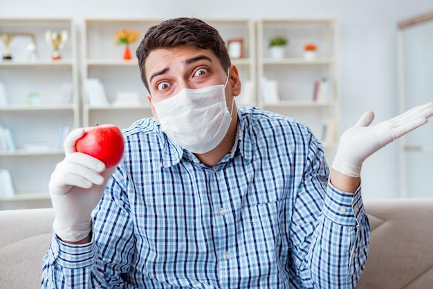 Homem que sofre de alergia - conceito médico