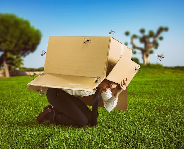 Homem se defende do ataque de mosquitos se escondendo em uma caixa de papelão