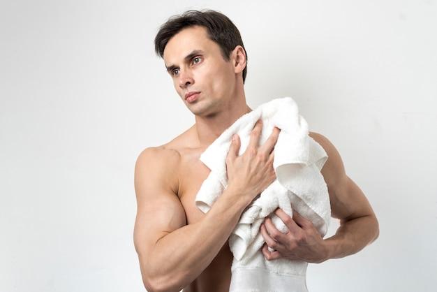 Homem, secar, corpo, após, banho