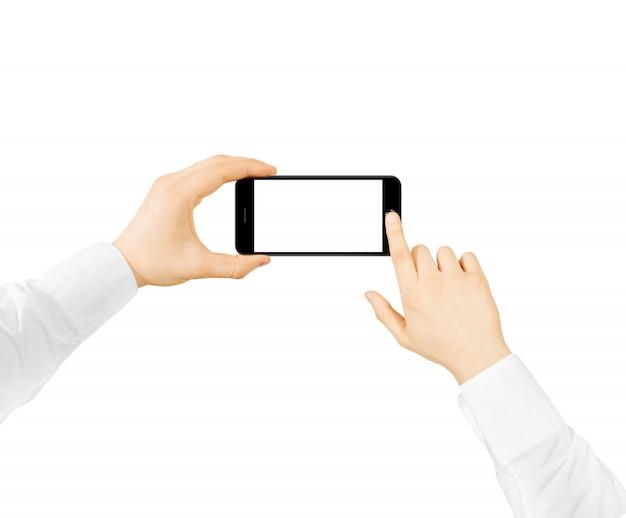 Homem segura telefone maquete de tela em branco duas mãos