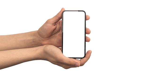 Homem segurando a tela da maquete do smartphone, tela branca em branco, isolada em uma foto de fundo branco