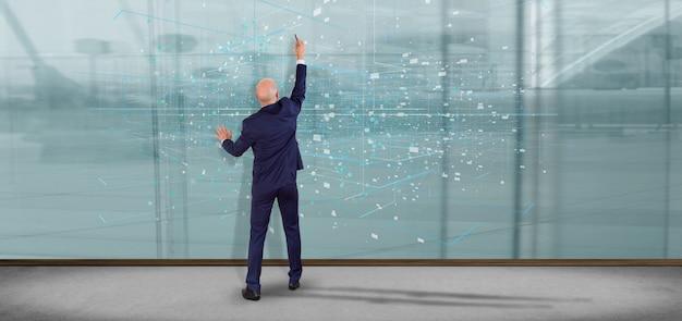 Homem, segurando, dados, binário, nuvem, 3d, fazendo