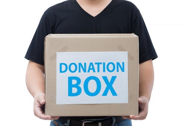 Homem, segurando, doação, caixa