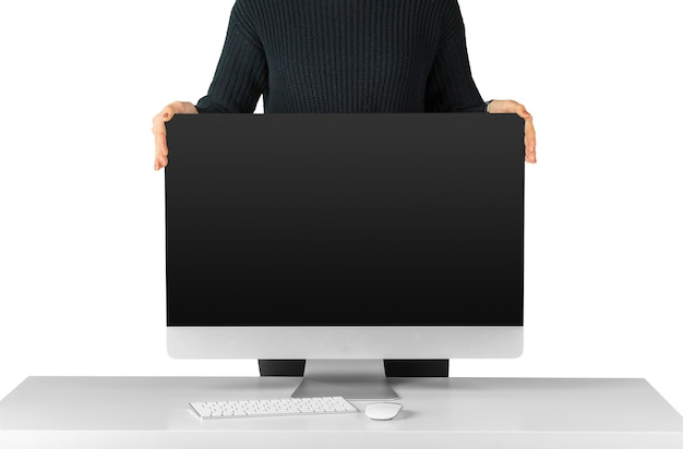 Homem, segurando, e, mostrando, pretas, monitor computador, tela, isolado, branco