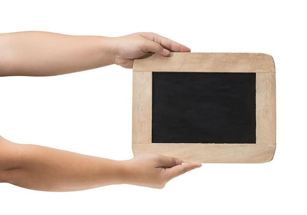 Homem, segurando, em branco, chalkboard, em, a, mão