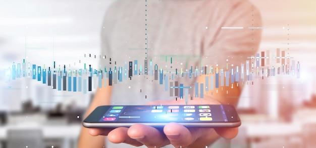 Homem, segurando, negócio, bolsa de valores, negociando, dados, informação