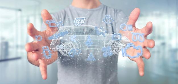 Homem, segurando, smartcar, ícone, ao redor, um, automóvel, 3d, fazendo