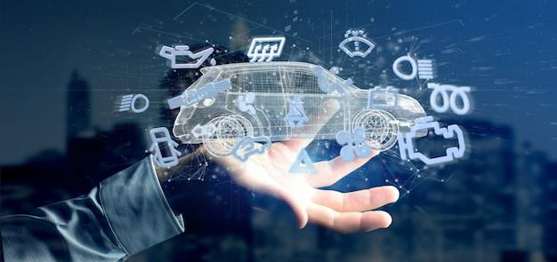 Homem, segurando, smartcar, iconround, um, automóvel, 3d, fazendo