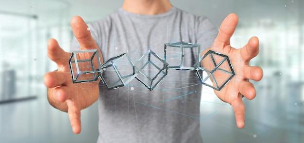 Homem, segurando, um, 3d, fazendo, blockchain, cubo, isolado, ligado, um, fundo