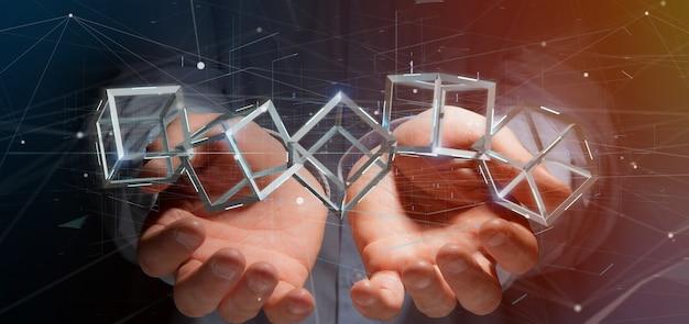 Homem, segurando, um, 3d, fazendo, blockchain, cubo, isolado
