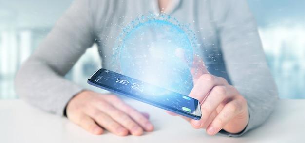 Homem, segurando, um, 3d, fazendo, dados, terra, globo, ligado, um, smartphone