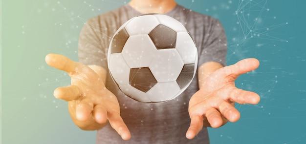 Homem, segurando, um, bola futebol, e, conexão, isolado, 3d, fazendo