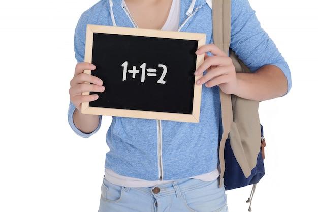Homem, segurando, um, chalkboard, com