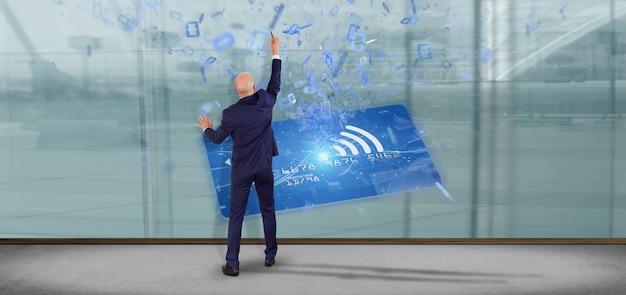 Homem, segurando, um, contactless, cartão crédito, pagamento, conceito, 3d, fazendo