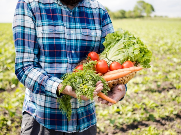 Homem segurando um monte de legumes