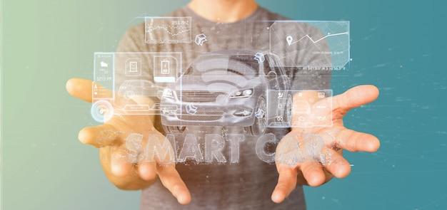 Homem, segurando, um, painel, smartcar, interface, painel, 3d, fazendo