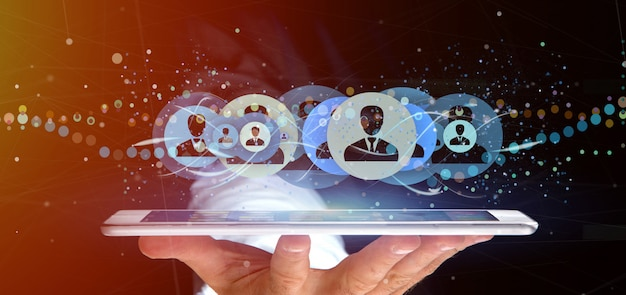 Homem, segurando, um, profissional, contato, rede, conceito, 3d, fazendo
